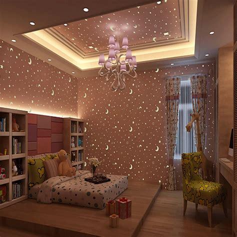 kids room luminous wallpaper roll stars   moon boys
