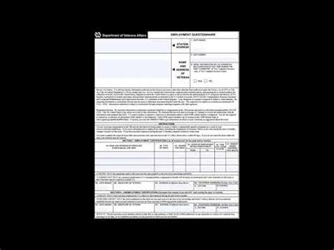 va form    employment questionnaire youtube