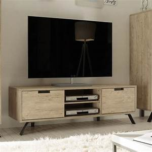 Meuble Salon Moderne : meuble tl couleur bois 2 portes 2 niches contemporain ~ Premium-room.com Idées de Décoration