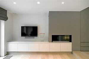 coin tele dans salon epure avec cheminee design exid With salle de bain design avec facade de cheminée décorative