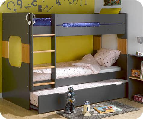 chambre avec lit superposé lit superposé spark gris et hêtre 90x200 cm avec sommier