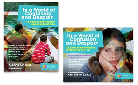 Free Mental Health Brochure Templates by Adolescent Counseling Poster Template Design