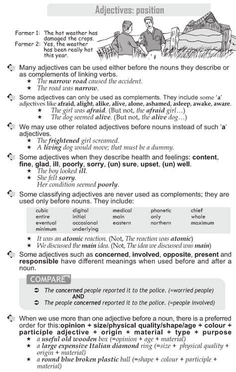 grammar grade  grammar lesson  adjectives position