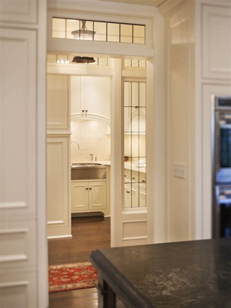 White Butler Pantry with Stainless Steel Mini Brick Tile