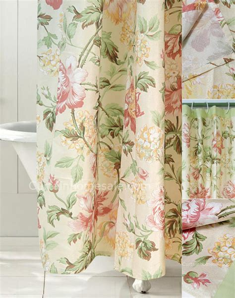 Japanese Floral Beige Fabric Shower Curtain Liner And Print
