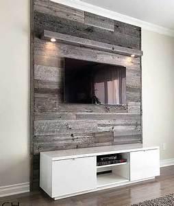 Mur Tv Bois : r alisations de mur en bois de grange ~ Teatrodelosmanantiales.com Idées de Décoration