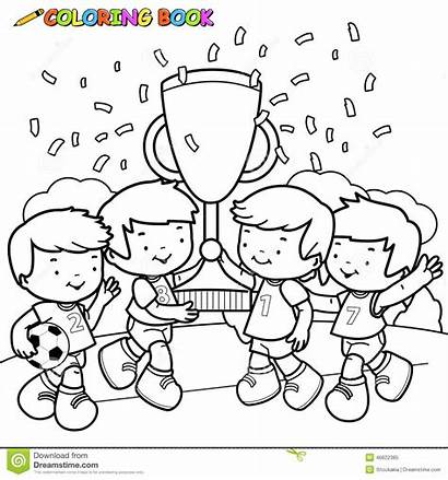 Soccer Coloring Winner Winners Outline Boys Cheering