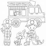 Coloring Pages Firefighter Firefighters Firemen Fire Trucks Birthday sketch template