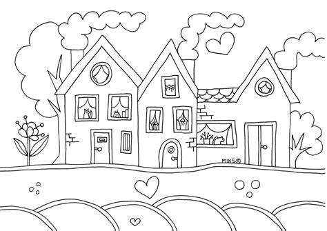Huizen Kleurplaat by Kleurplaten Huisjes