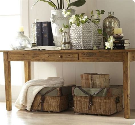 Decorating Sofa Table by Pottery Barn Keaton Console Table How To Decorate A