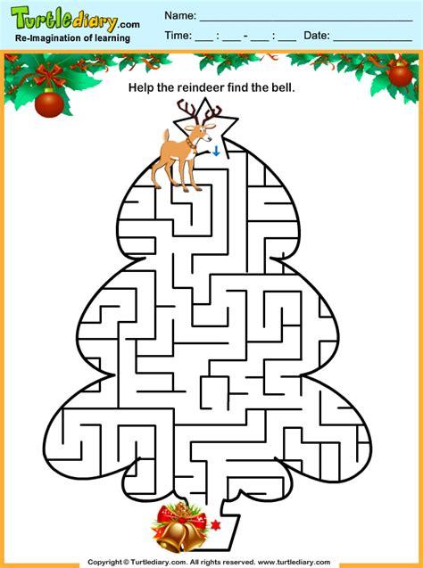 christmas tree maze worksheet turtle diary