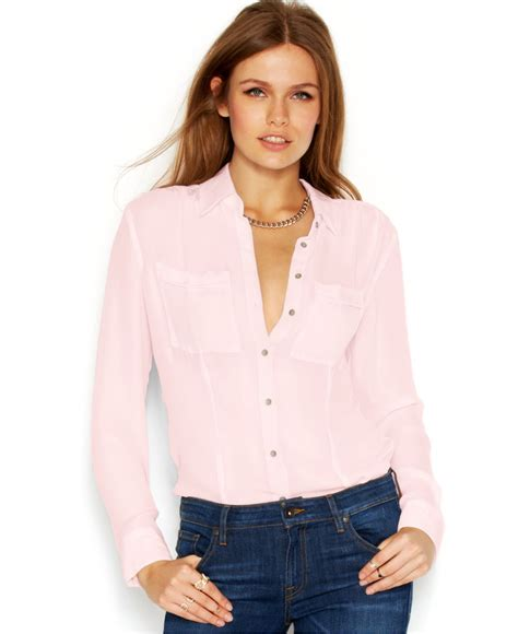 s sheer blouses guess sleeve point collar sheer blouse in pink lyst