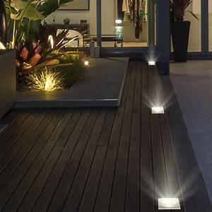 Terrassenbeleuchtung Boden Led : design boden strahler lampe edelstahl glas balkon garten leuchte im set inkl led leuchtmittel ~ Sanjose-hotels-ca.com Haus und Dekorationen