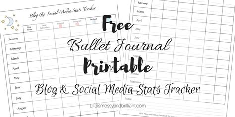 bullet journal printable blog  social media stats