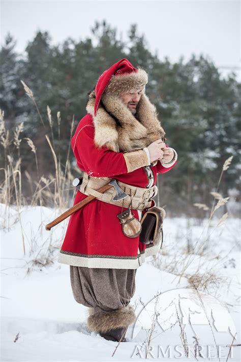 woolen viking coat yule edition   black wool bottle green wool red wine wool