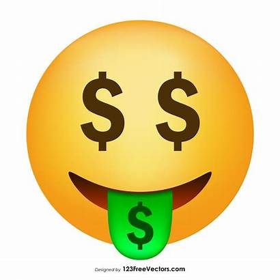 Emoji Money Face Vector Mouth 123freevectors Icon
