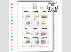 Free printable 2018 kawaii calendar Kalender 2018