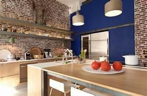 cuisine cuisine mur de brique cuisine mur de brique With cuisine avec brique rouge