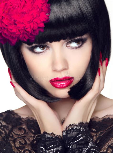 fashion glamour beauty model girl with makeup and bob
