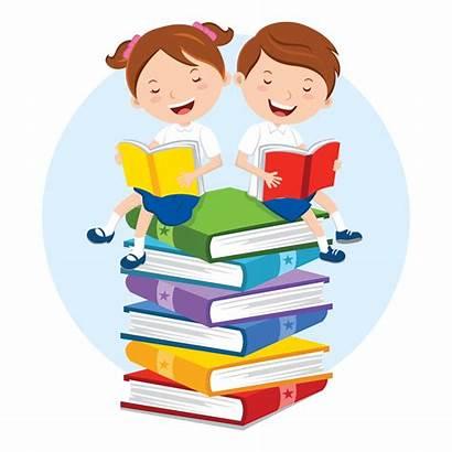 Books Children Reading Read Vector Cartoon Gender