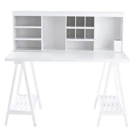bureau blanc et bois bureau en bois blanc l 130 cm cus maisons du monde