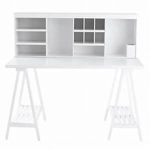 Bureau 130 Cm : bureau en bois blanc l 130 cm campus maisons du monde ~ Teatrodelosmanantiales.com Idées de Décoration
