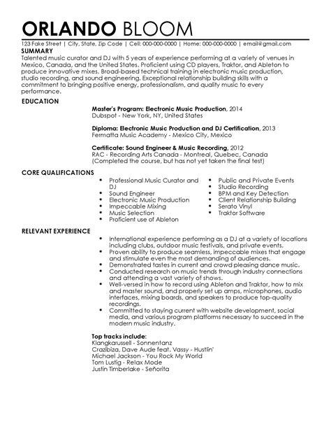 Dj Resume professional dj resume templates to showcase your talent