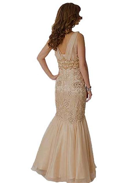 champagne lace chiffon mermaid gown vintage inspired