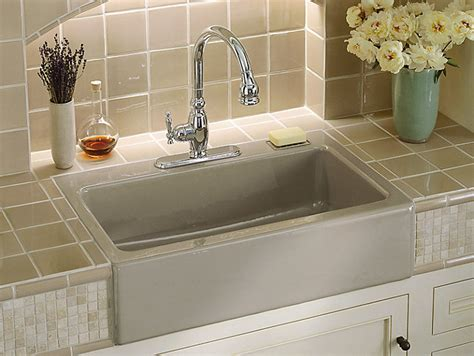 kohler dickinson farmhouse sink dickinson apron front kitchen sink w three faucet holes