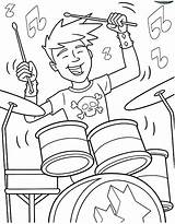Coloring Band Drum Rock Roll Boy Drummer Printable Play Showtime Drumset Drums Marching Bands Drawing Hiking Getcolorings Playing Getdrawings Popular sketch template
