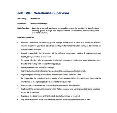 supervisor job description templates google docs