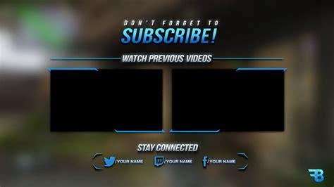 gfx outro template psd  youtube