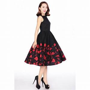 Black Retro Cocktail Dress with Red Floral Print - Plus
