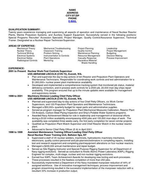 Navy Nuke Resume