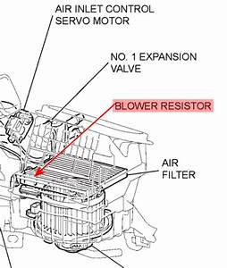 Where Is The Blower Motor Resistor Located For A 2003