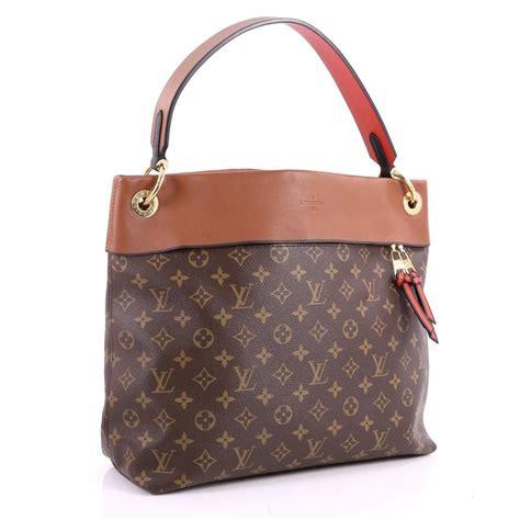 louis vuitton tuileries monogram  leather brown canvas hobo bag tradesy