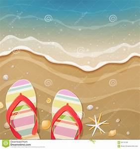 Flip-flops And Shells On The Beach Stock Vector ...