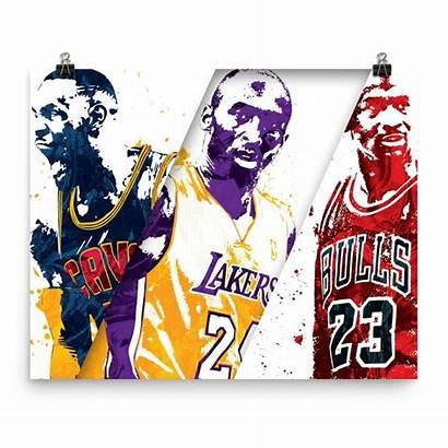 Kobe Jordan Michael Bryant Poster Lebron James