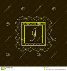 shiny frame with letter i for monogram stock illustration With letter shaped picture frames