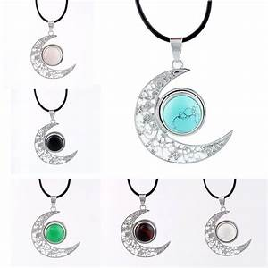 15 Colors Moon Necklaces Natural Stone Beads Pendant ...