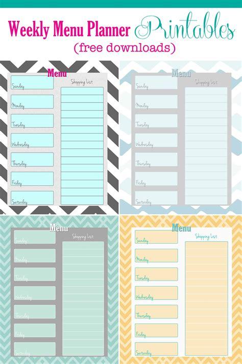 menu planning template free weekly menu planner printable 4 colors cupcake diaries
