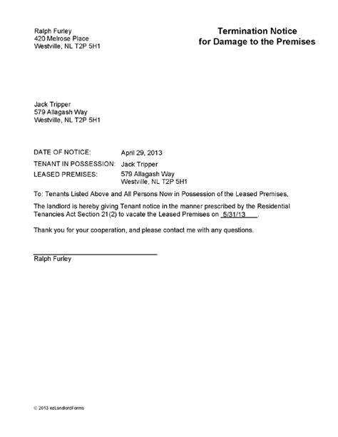 nl termination notice  damage  premises ez landlord