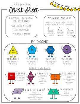 geometry cheat sheet freebie  images