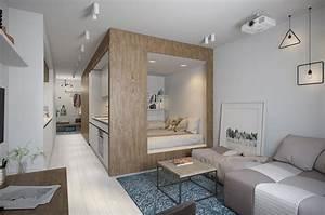 Tiny, Apartment, With, Light, Interior, Design, Under, 30, Square, Meters