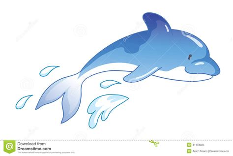 Cartoon Dolphin Jumping Out Of Water Stock Illustration