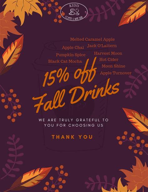 With the kidd coffee mobile app, you can: 15% Off Fall Seasonal Drinks - Kidd Coffee & Wine Bar