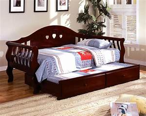 charlotte camel cherry platform daybed with twin trundle With charlotte daybed with trundle