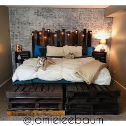 king size pallet bed  headboard diy rustic industrial