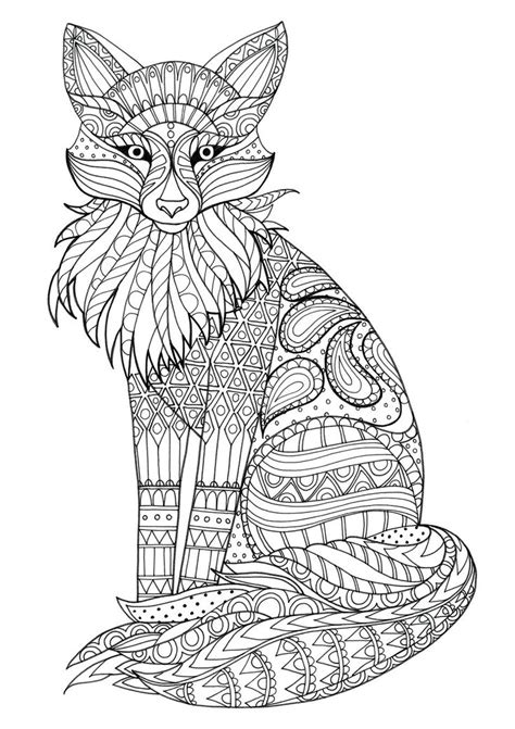 fox zentangle animal coloring pages fox coloring page mandala coloring pages