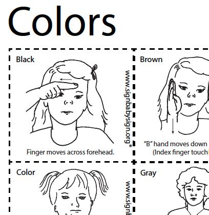 sign language for colors flash cards colors asl teaching resources